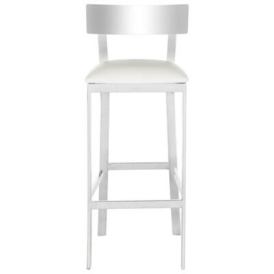 Sensational Safavieh Abby White Chrome Bar Stool At Lowes Com Lamtechconsult Wood Chair Design Ideas Lamtechconsultcom