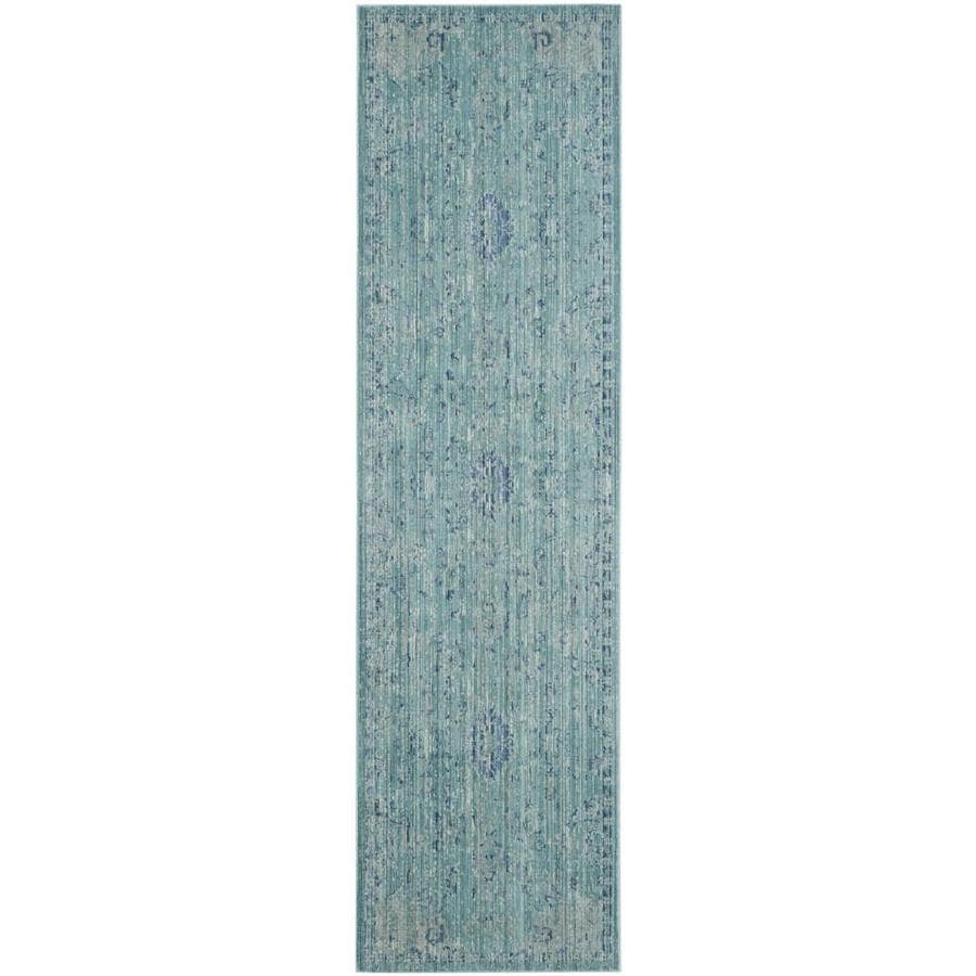 Safavieh Valencia Tabitha Teal Indoor Distressed Runner (Common: 2 x 8; Actual: 2.25-ft W x 8-ft L)