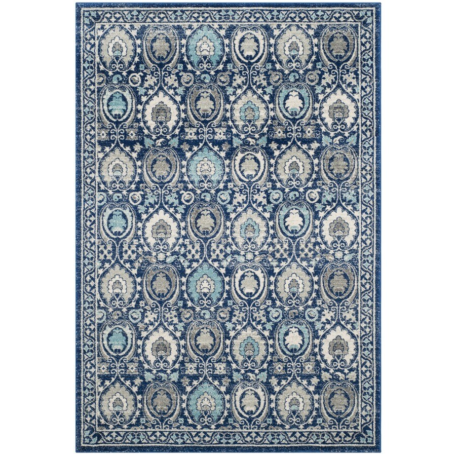 Safavieh Evoke Malaga Blue/Ivory Rectangular Indoor Machine-Made Oriental Area Rug (Common: 4 x 6; Actual: 4-ft W x 6-ft L)