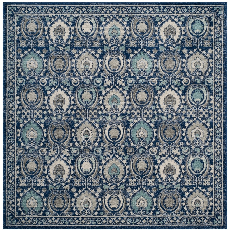Safavieh Evoke Malaga Blue/Ivory Square Indoor Machine-Made Oriental Area Rug (Common: 6 x 6; Actual: 6.6-ft W x 6.6-ft L)