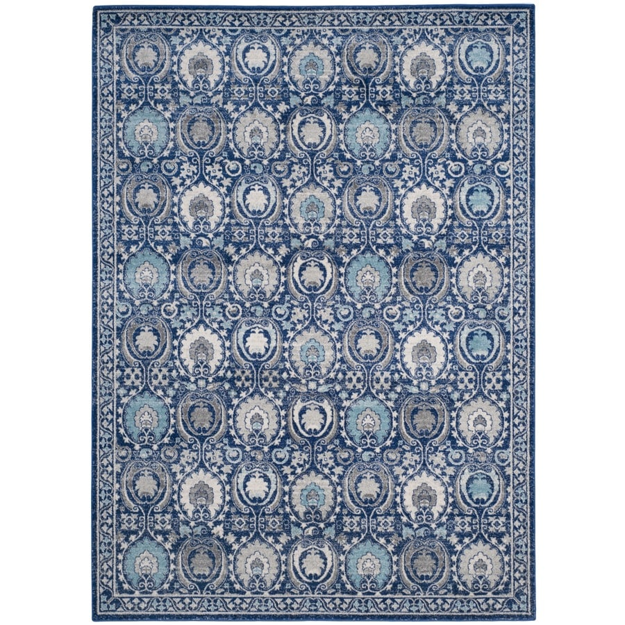 Safavieh Evoke Malaga Blue/Ivory Rectangular Indoor Machine-Made Oriental Area Rug (Common: 9 x 12; Actual: 9-ft W x 12-ft L)