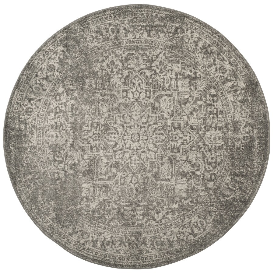 Safavieh Evoke Isla Silver/Ivory Round Indoor Oriental Area Rug (Common: 7 x 7; Actual: 6.7-ft W x 6.6-ft L x 6.6-ft dia)