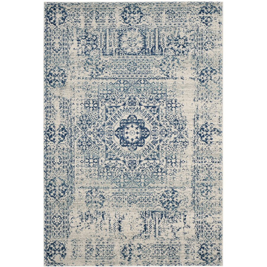 Safavieh Evoke Apipe Ivory/Blue Rectangular Indoor Machine-Made Oriental Area Rug (Common: 5 x 7; Actual: 5.1-ft W x 7.5-ft L)