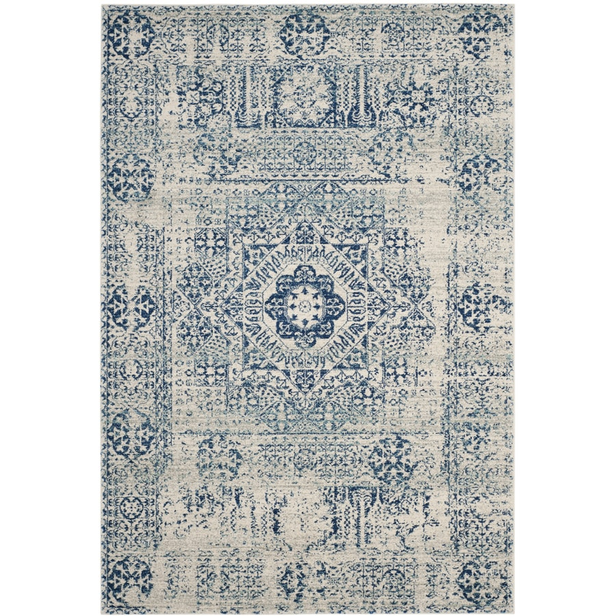 Safavieh Evoke Apipe Ivory/Blue Indoor Oriental Area Rug (Common: 7 x 9; Actual: 6.7-ft W x 9-ft L)