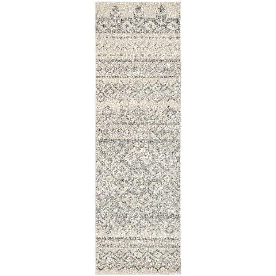 Safavieh Adirondack Taos Ivory/Silver Rectangular Indoor Machine-made Lodge Runner (Common: 2 x 20; Actual: 2.5-ft W x 20-ft L)