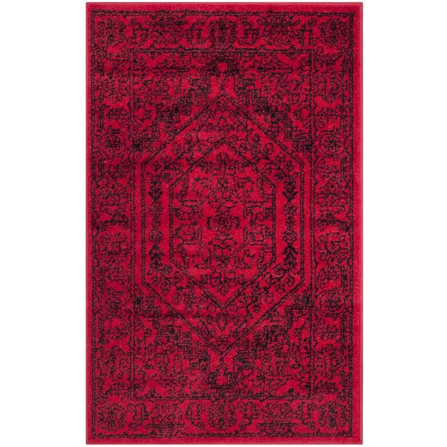 Safavieh Adirondack Red/Black Rectangular Indoor Machine-Made Lodge Throw Rug (Common: 2.3 x 3.9; Actual: 2.5-ft W x 4-ft L x 0-ft Dia)