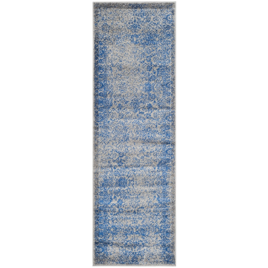 Safavieh Adirondack Gray/Blue Rectangular Indoor Machine-Made Lodge Runner (Common: 2 x 18; Actual: 2.5-ft W x 18-ft L)