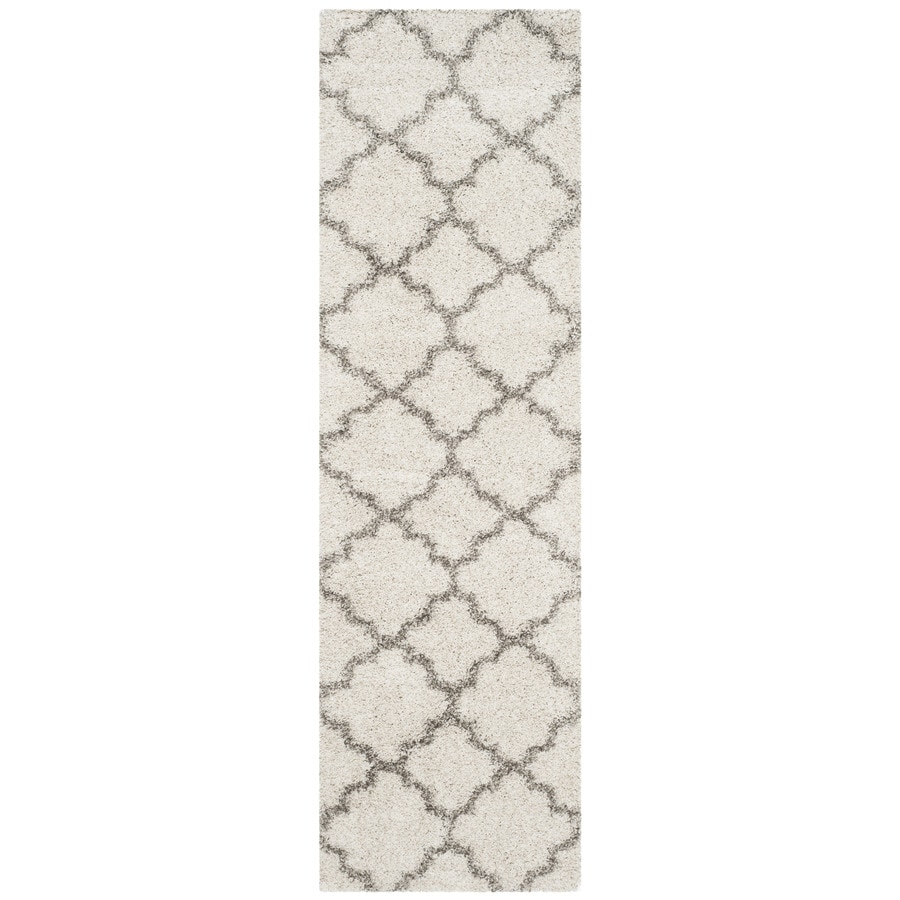 Safavieh Hudson Theron Shag Ivory/Gray Rectangular Indoor Machine-made Moroccan Runner (Common: 2 x 12; Actual: 2.25-ft W x 12-ft L)