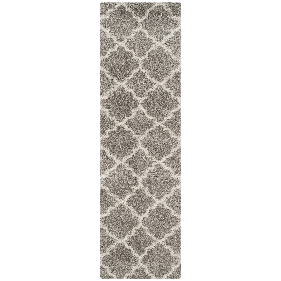 Safavieh Hudson Theron Shag Gray/Ivory Indoor Moroccan Runner (Common: 2 x 12; Actual: 2.25-ft W x 12-ft L)