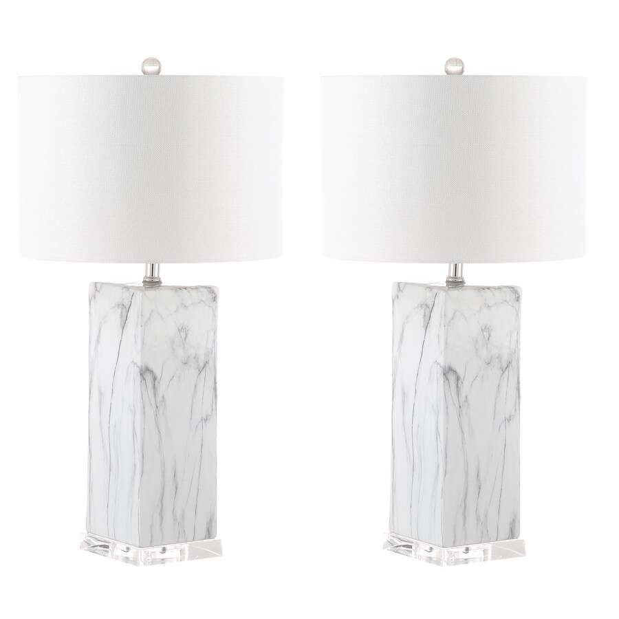 Safavieh Olympia Marble Table Lamp Black White Marble At Lowes Com
