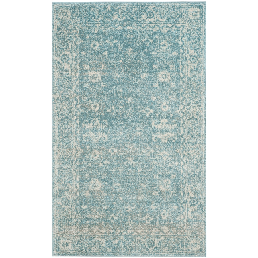 Safavieh Evoke Likoma Light Blue/Ivory Rectangular Indoor Machine-Made Oriental Throw Rug (Common: 3 x 5; Actual: 3-ft W x 5-ft L)