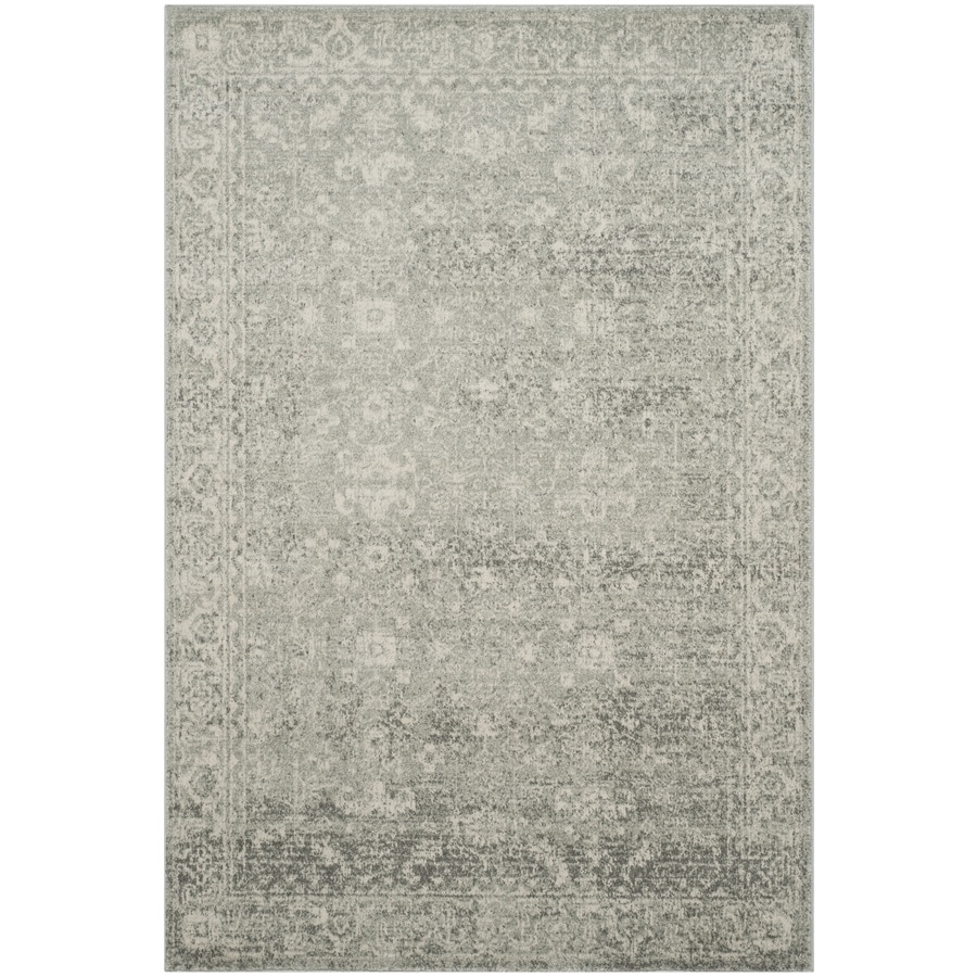 Safavieh Evoke Likoma Silver/Ivory Rectangular Indoor Machine-Made Oriental Area Rug (Common: 5 x 7; Actual: 5.1-ft W x 7.5-ft L)