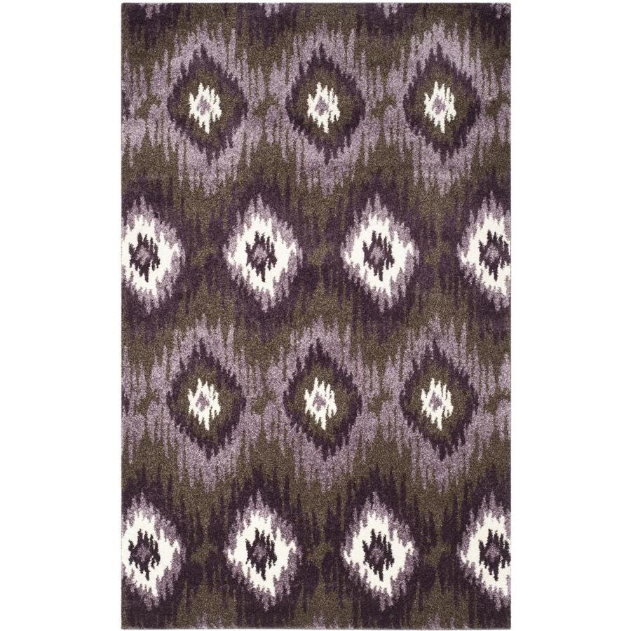 Safavieh Retro Bilson Dark Brown/Eggplant Indoor Lodge Throw Rug (Common: 3 x 5; Actual: 3-ft W x 5-ft L)