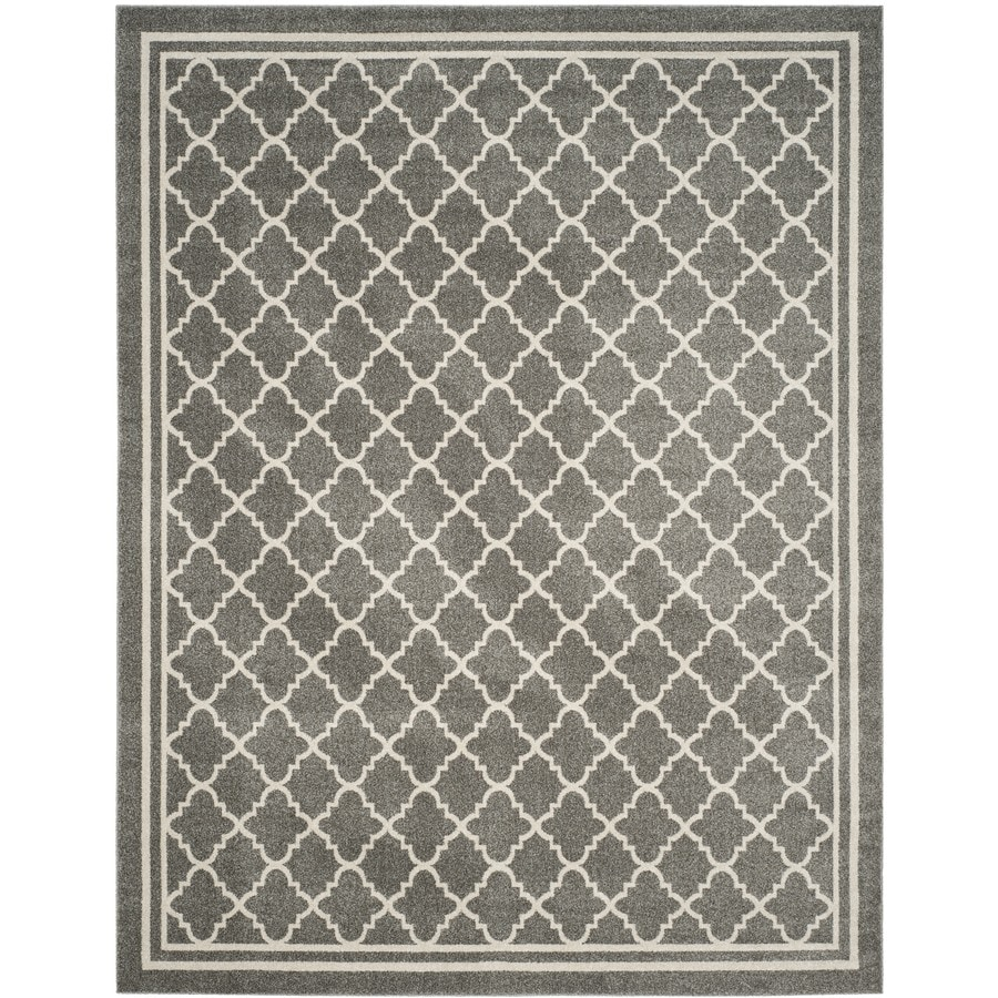 Safavieh Amherst Kelly Dark Gray/Beige Rectangular Indoor/Outdoor Machine-Made Moroccan Area Rug (Common: 12 x 18; Actual: 12-ft W x 18-ft L)