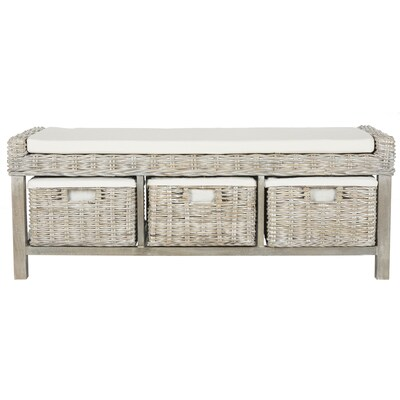 Safavieh Kobutsu Modern Gray White Wash Eggshell Storage Bench At