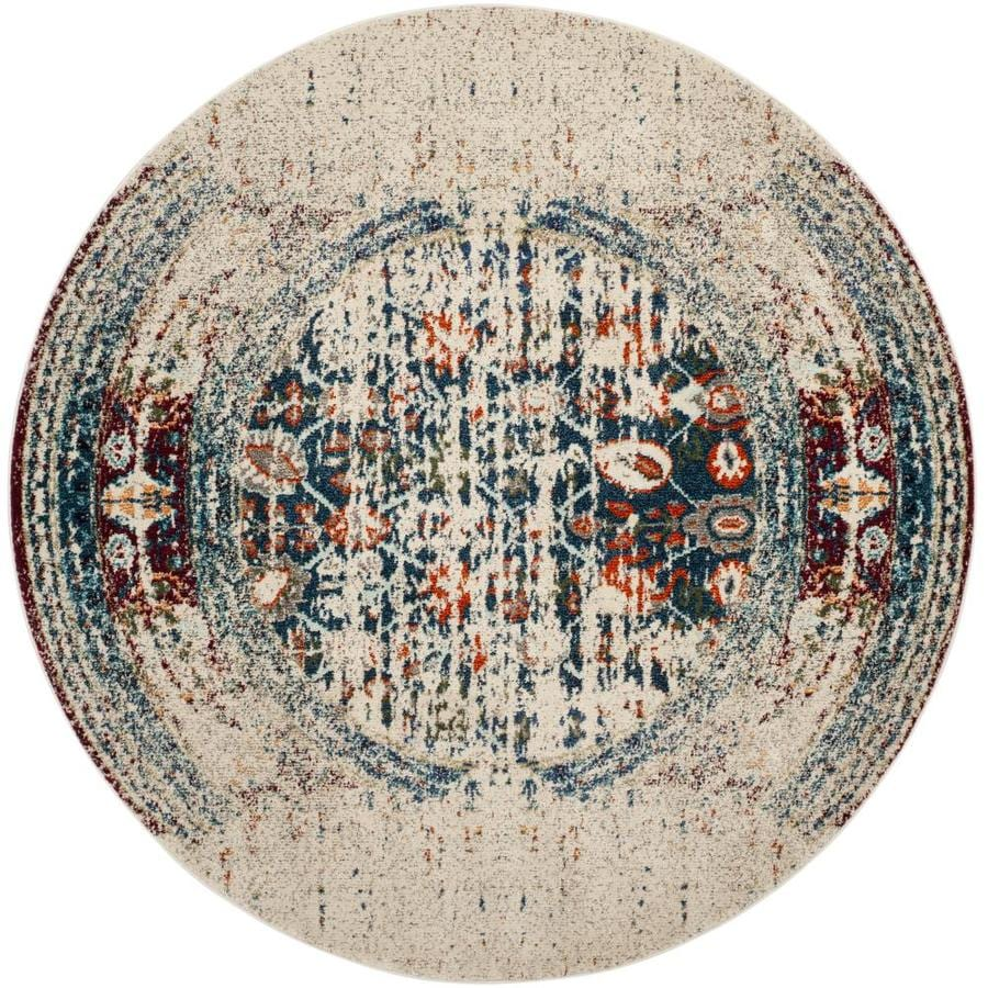 Safavieh Monaco Winfrid Beige Round Indoor Distressed Area Rug (Common: 7 x 7; Actual: 6.7-ft W x 6.6-ft L x 6.6-ft dia)