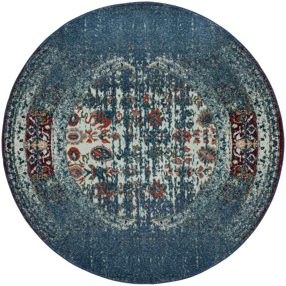 Safavieh Monaco Winfrid Blue/Ivory Round Indoor Distressed Area Rug (Common: 7 x 7; Actual: 6.7-ft W x 6.6-ft L x 6.6-ft dia)