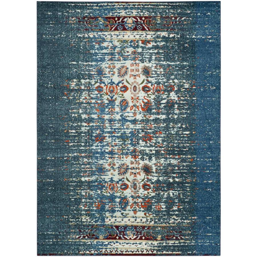 Safavieh Monaco Winfrid Blue/Ivory Rectangular Indoor Machine-Made Distressed Area Rug (Common: 8 x 11; Actual: 8-ft W x 11-ft L)