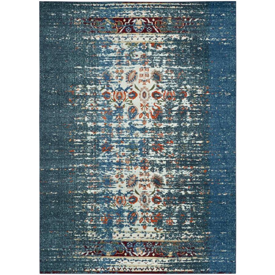 Safavieh Monaco Winfrid Blue/Ivory Rectangular Indoor Machine-Made Distressed Area Rug (Common: 9 x 12; Actual: 9-ft W x 12-ft L)