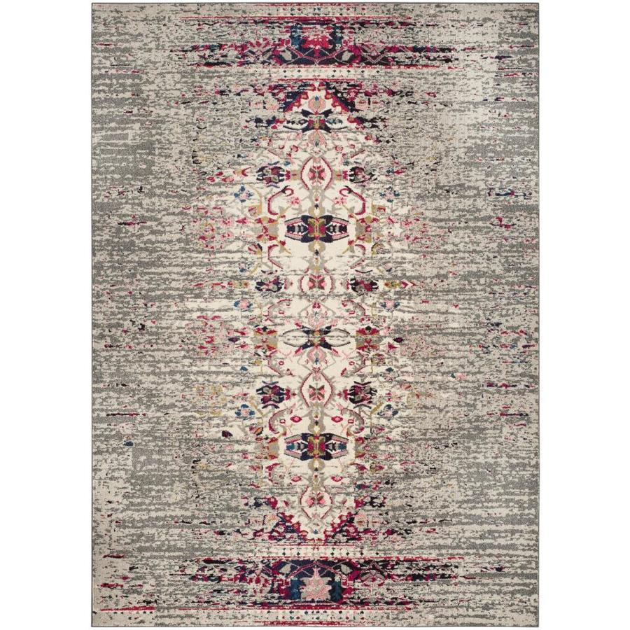 Safavieh Monaco Kimberly Gray/Ivory Rectangular Indoor Machine-Made Distressed Area Rug (Common: 5 x 8; Actual: 5.1-ft W x 7.6-ft L)