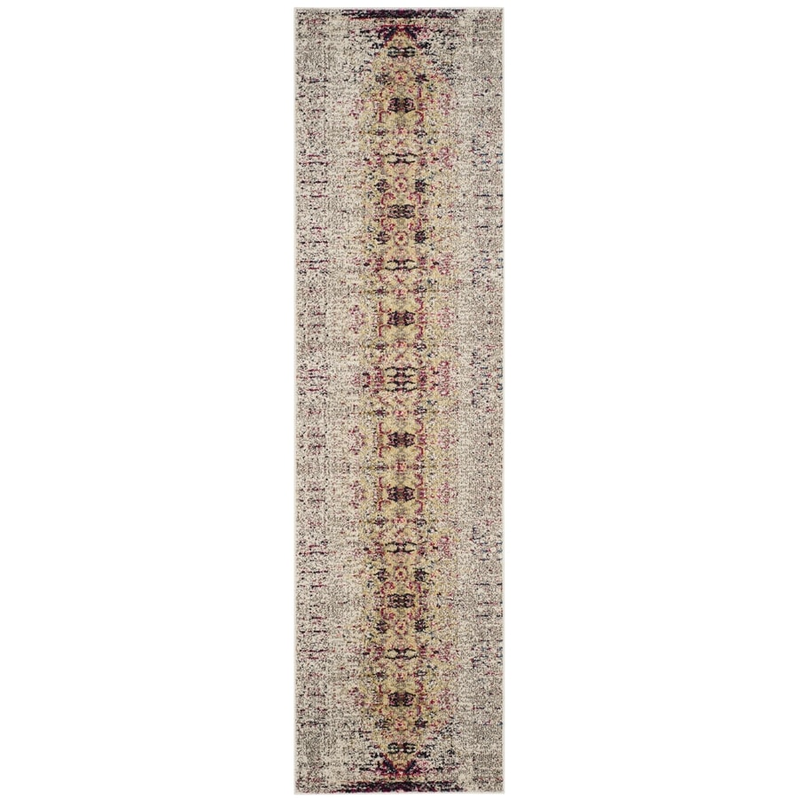 Safavieh Monaco Kimberly Ivory/Pink Indoor Distressed Runner (Common: 2 x 8; Actual: 2.2-ft W x 8-ft L)
