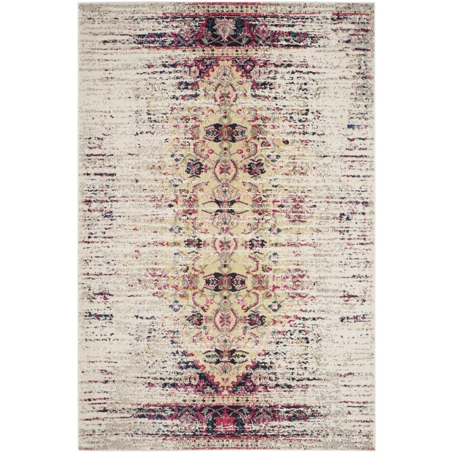 Safavieh Monaco Kimberly Ivory/Pink Indoor Distressed Area Rug (Common: 5 x 8; Actual: 5.1-ft W x 7.6-ft L)