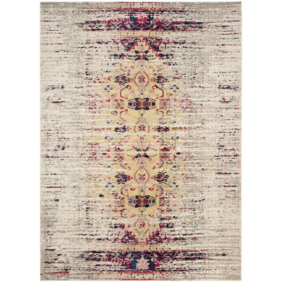 Safavieh Monaco Kimberly Ivory/Pink Rectangular Indoor Machine-made Distressed Area Rug (Common: 6 x 9; Actual: 6.6-ft W x 9.2-ft L)