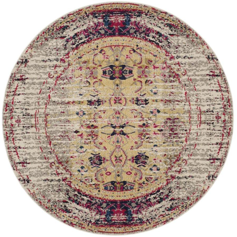 Safavieh Monaco Kimberly Ivory/Pink Round Indoor Machine-Made Distressed Area Rug (Common: 7 x 7; Actual: 6.5-ft W x 6.5-ft L x 6.5-ft dia)