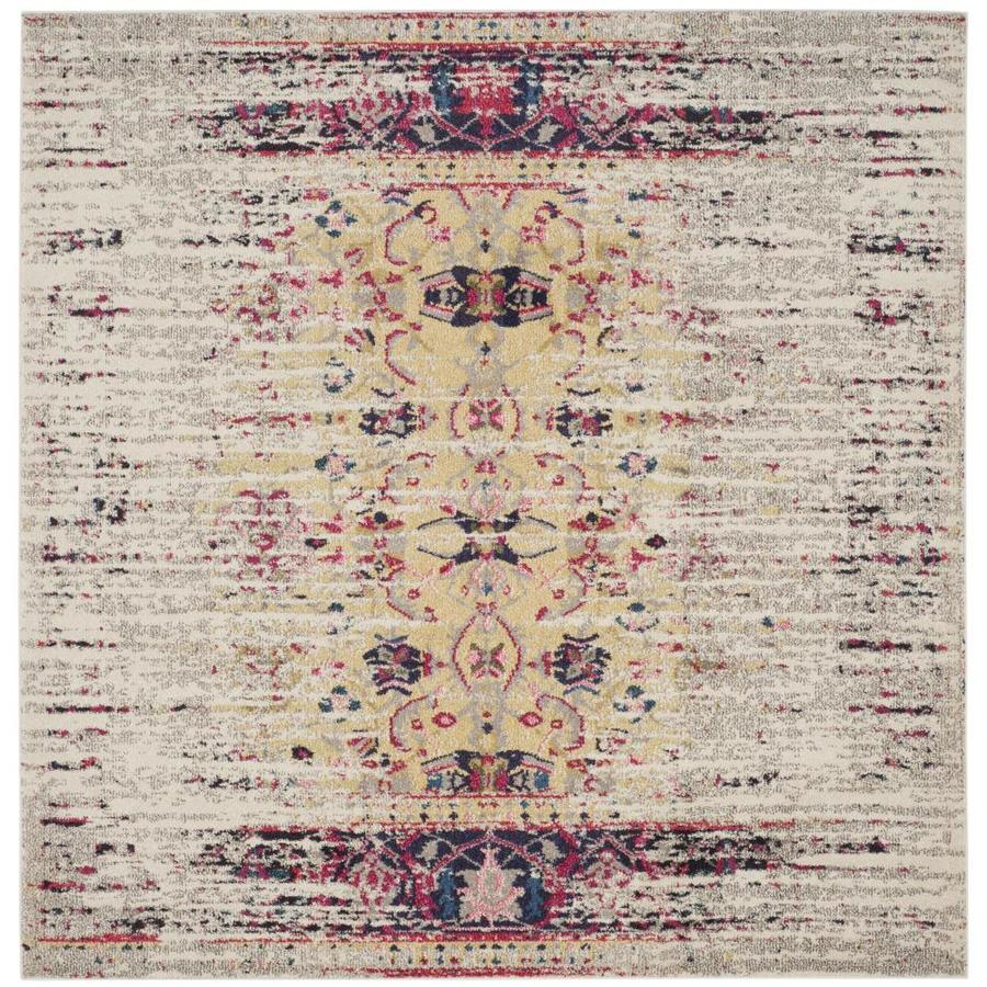 Safavieh Monaco Kimberly Ivory/Pink Square Indoor Machine-Made Distressed Area Rug (Common: 7 x 7; Actual: 6.6-ft W x 6.6-ft L)