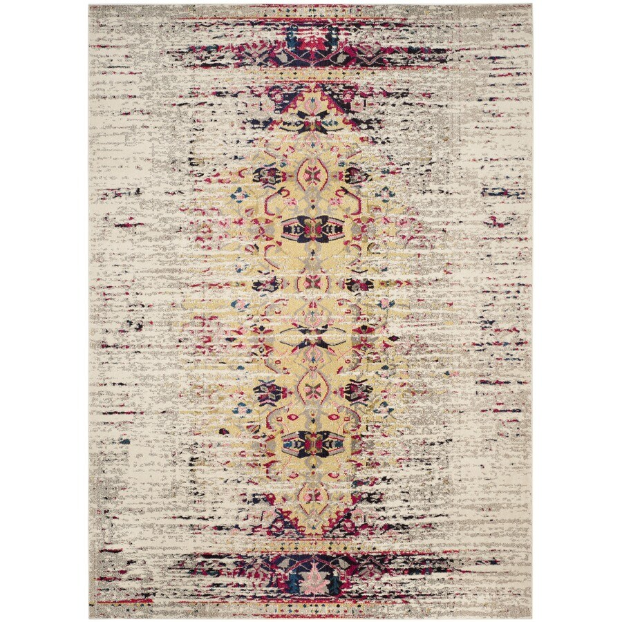 Safavieh Monaco Kimberly Ivory/Pink Rectangular Indoor Machine-made Distressed Area Rug (Common: 9 x 12; Actual: 9-ft W x 12-ft L)