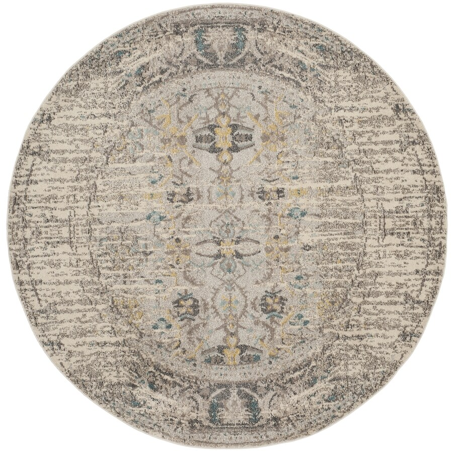Safavieh Monaco Kimberly Gray/Multi Round Indoor Machine-made Distressed Area Rug (Common: 6 x 6; Actual: 6.6-ft W x 6.6-ft L x 6.6-ft dia)