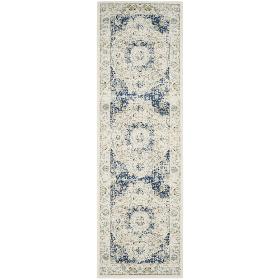 Safavieh Evoke Savoy Ivory/Blue Rectangular Indoor Machine-Made Oriental Runner (Common: 2 x 11; Actual: 2.2-ft W x 11-ft L)