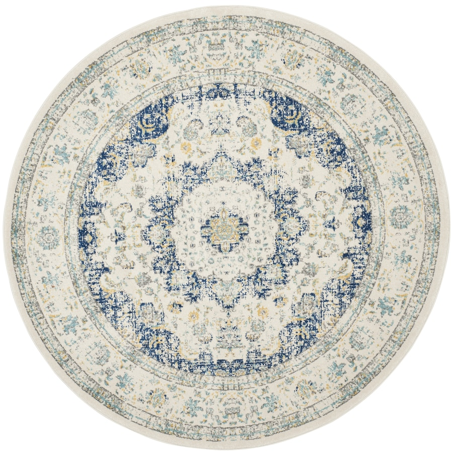 Safavieh Evoke Savoy Ivory/Blue Round Indoor Machine-Made Oriental Area Rug (Common: 5 x 5; Actual: 5.1-ft W x 5.1-ft L x 5.1-ft dia)
