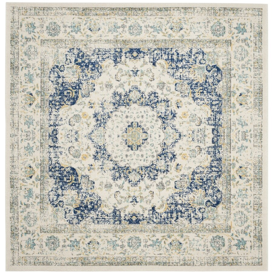 Safavieh Evoke Savoy Ivory/Blue Square Indoor Oriental Area Rug (Common: 5 x 5; Actual: 5.1-ft W x 5.1-ft L)