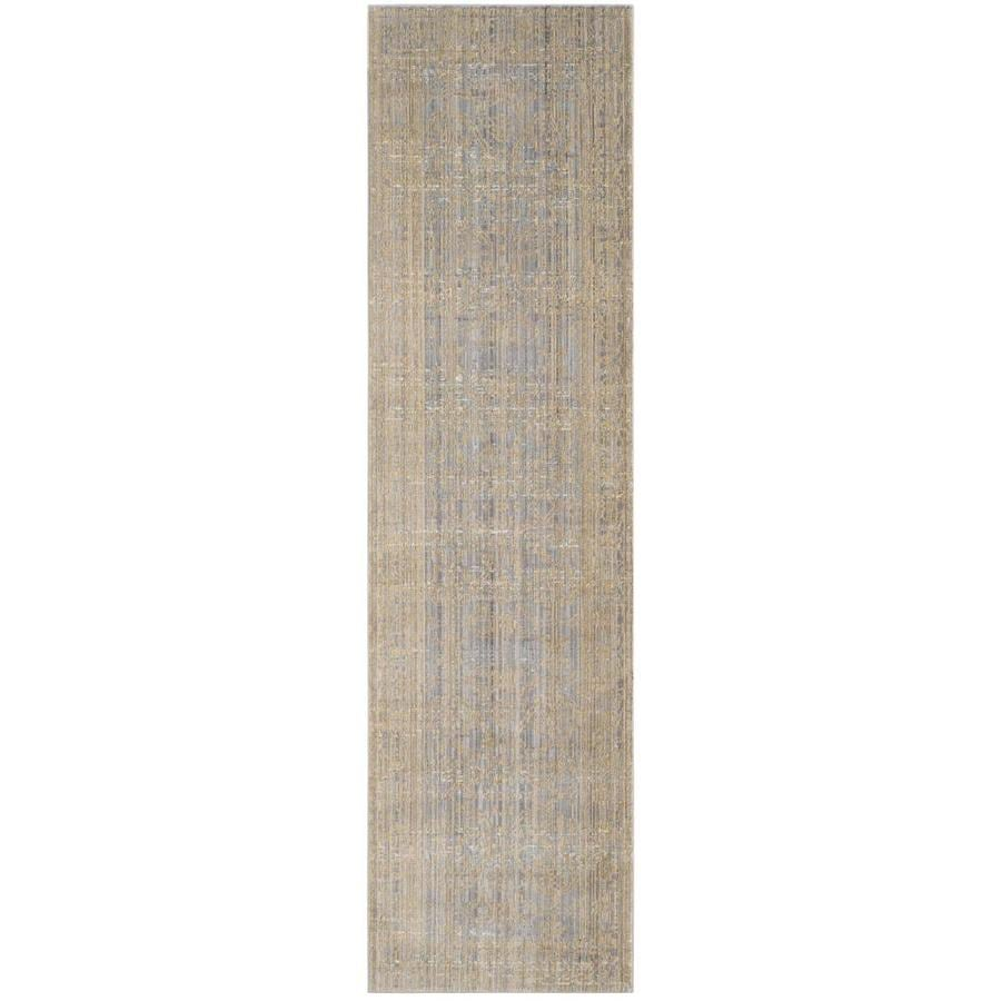 Safavieh Valencia Samara Gray/Gold Rectangular Indoor Machine-made Distressed Runner (Common: 2 x 10; Actual: 2.25-ft W x 10-ft L)