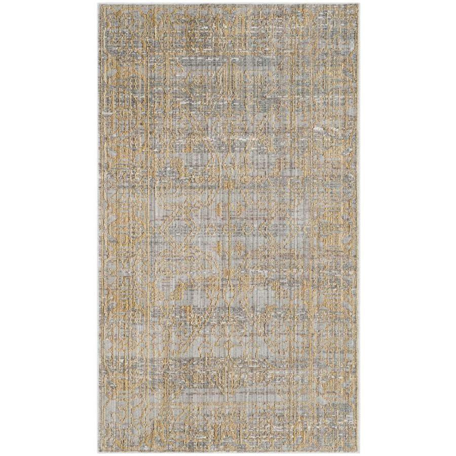 Safavieh Valencia Samara Gray/Gold Rectangular Indoor Machine-made Distressed Throw Rug (Common: 3 x 5; Actual: 3-ft W x 5-ft L)
