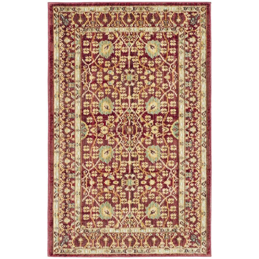 Safavieh Valencia Jayden Red/Red Rectangular Indoor Machine-Made Distressed Throw Rug (Common: 2 x 3; Actual: 2-ft W x 3-ft L)