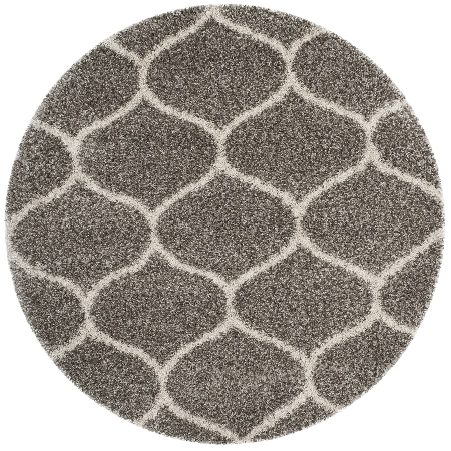 Safavieh Hudson Hathaway Shag Gray/Ivory Round Indoor Moroccan Area Rug (Common: 5 x 5; Actual: 5-ft W x 5-ft L x 5-ft dia)