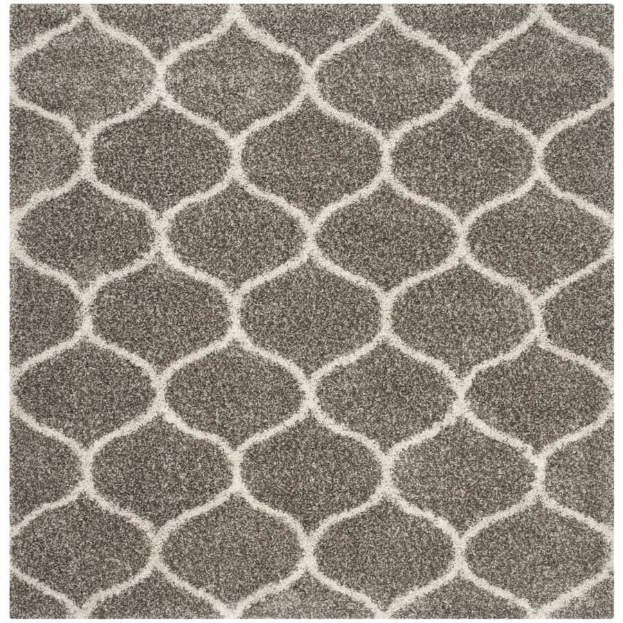Safavieh Hudson Hathaway Shag Gray/Ivory Square Indoor Machine-made Moroccan Area Rug (Common: 5 x 5; Actual: 5-ft W x 5-ft L)