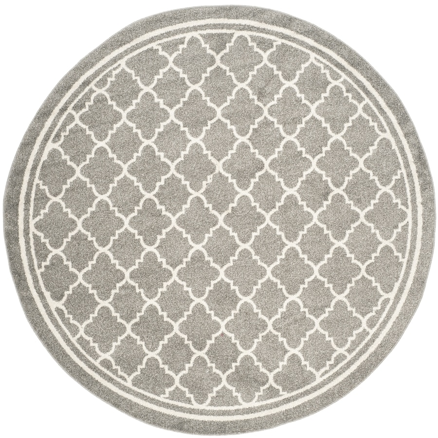 Safavieh Amherst Kelly Dark Gray Beige Round Indoor Outdoor Moroccan Area Rug Common