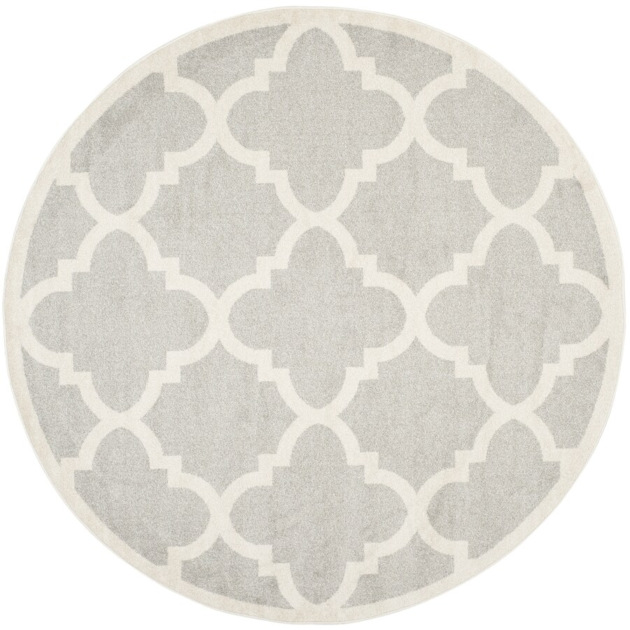 Safavieh Amherst Pompey Gray/Beige Round Indoor/Outdoor Machine-Made Moroccan Area Rug (Common: 9 x 9; Actual: 9-ft W x 9-ft L x 9-ft Dia)