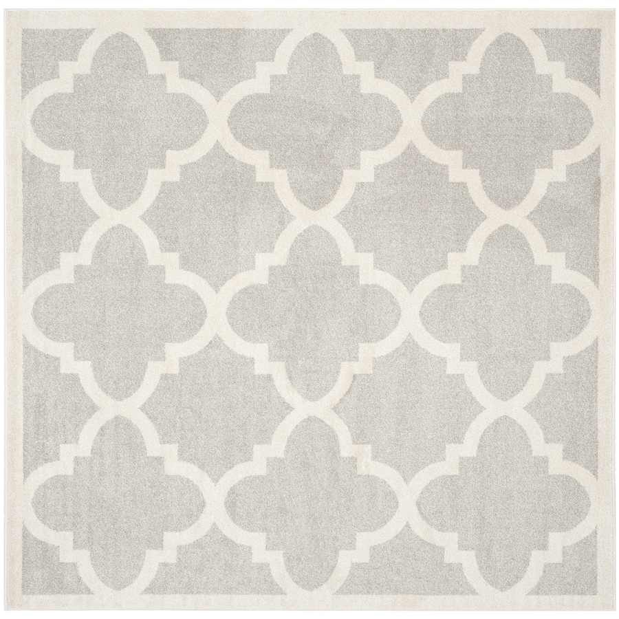 Safavieh Amherst Pompey Gray/Beige Square Indoor/Outdoor Machine-Made Moroccan Area Rug (Common: 9 x 9; Actual: 9-ft W x 9-ft L)