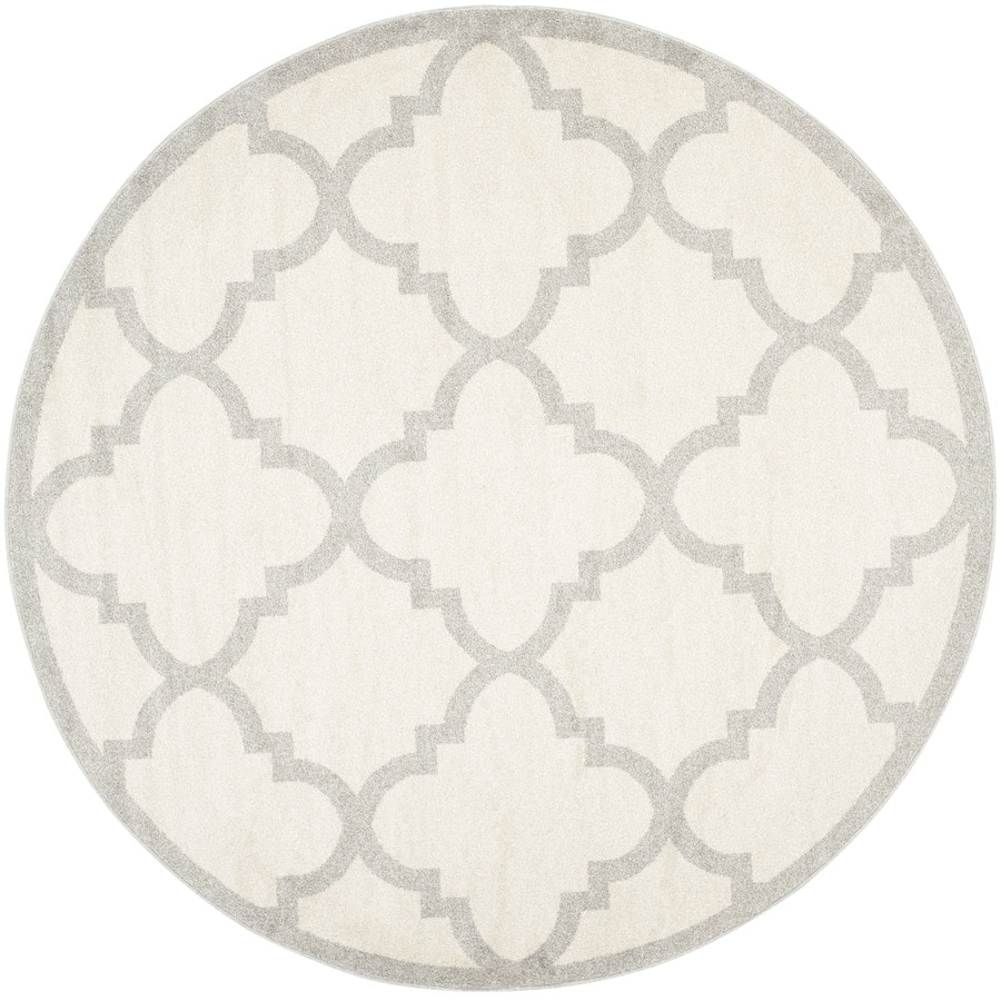Safavieh Amherst Pompey Beige/Light Gray Round Indoor/Outdoor Machine-Made Moroccan Area Rug (Common: 9 x 9; Actual: 9-ft W x 9-ft L x 9-ft Dia)
