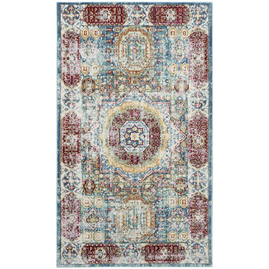 Safavieh Valencia Candence Blue Indoor Distressed Throw Rug (Common: 3 x 5; Actual: 3-ft W x 5-ft L)
