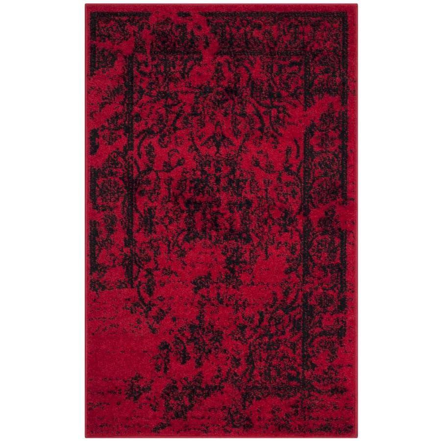 Safavieh Adirondack Plaza Red/Black Indoor Lodge Throw Rug (Common: 2 x 4; Actual: 2.5-ft W x 4-ft L)