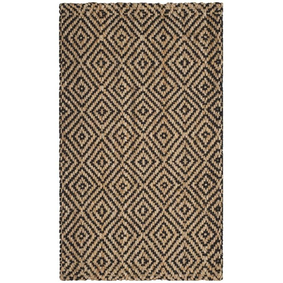 Safavieh Natural Fiber Shinnecock Natural/Black Rectangular Indoor Handcrafted Coastal Throw Rug (Common: 3 x 5; Actual: 3-ft W x 5-ft)
