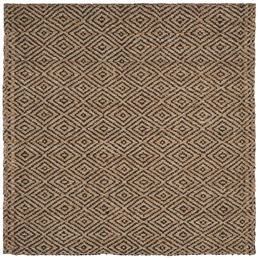 Safavieh Natural Fiber Shinnecock Natural/Black Square Indoor Handcrafted Coastal Area Rug (Common: 7 x 7; Actual: 7-ft W x 7-ft L)