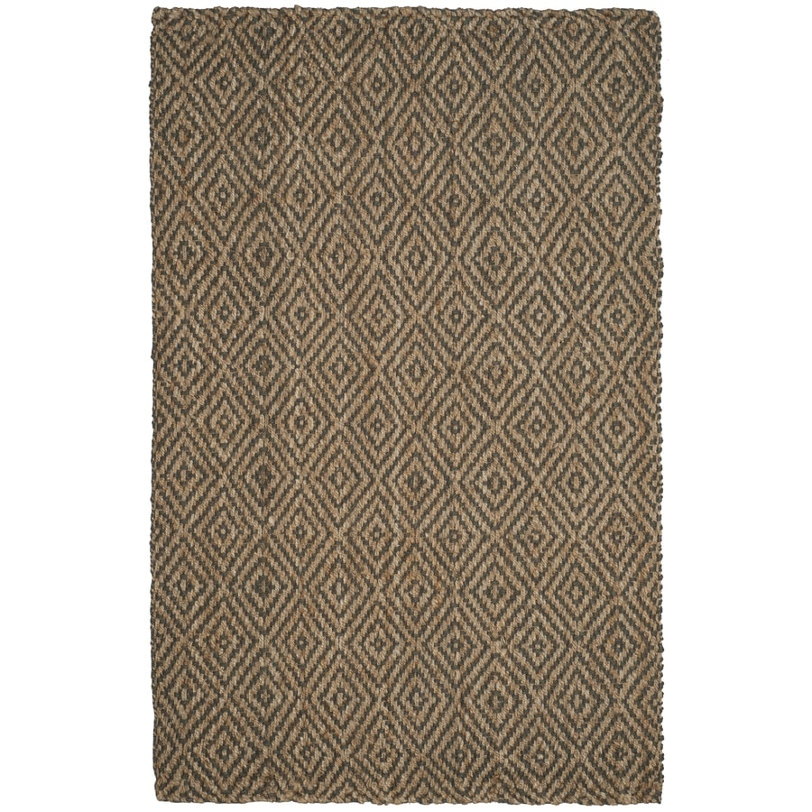 Safavieh Natural Fiber Shinnecock Natural/Gray Indoor Handcrafted Coastal Area Rug (Common: 5 x 8; Actual: 5-ft W x 8-ft L)