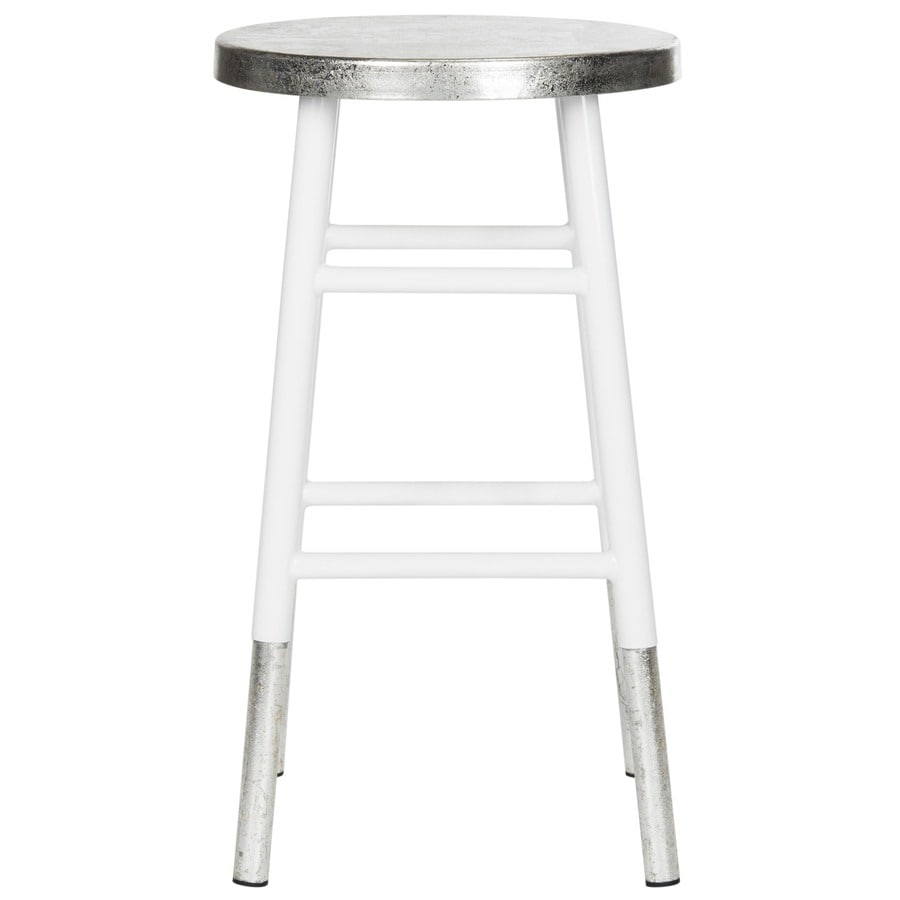 Shop Safavieh Kenzie Modern White Silver Counter Stool At