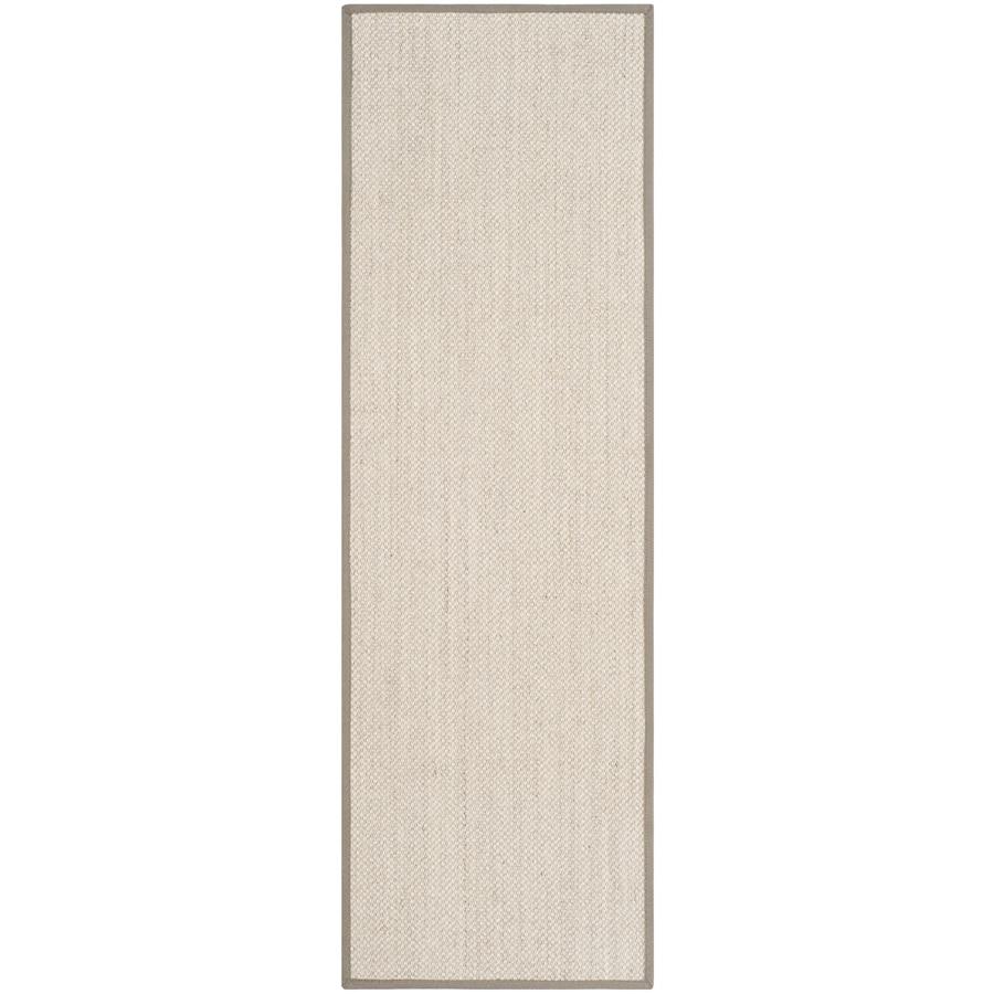 Safavieh Natural Fiber Pines Marble/Khaki Rectangular Indoor Machine-made Coastal Runner (Common: 2 x 14; Actual: 2.5-ft W x 14-ft L)